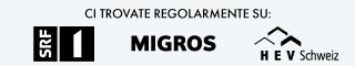 SRF 1 logo . Migros logo . Hev-Schweiz logo